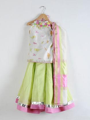 Ivory-Green Cotton and Chanderi Silk Gota Patti Lehenga Set with Dupatta (Set of 3)