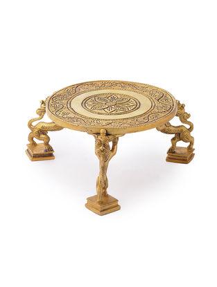 Brass Chowki with Yalli Design (L: 6.5in, W: 6.5in, H: 3in)