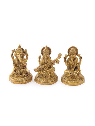 Brass Home Accent with Ganesha-Lakshmi- Saraswati Design (Set of 3) (L: 2.1in, W: 2.5in, H: 4.1in)