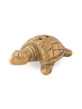 Brass Incense Holder with Tortoise Design (L: 2in, W: 1.2in, H: 0.5in)