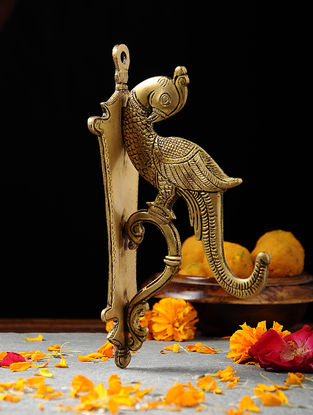 Brass Wall Hook with Parrot Design (L:8.6in, W:3in, H:4.6in)