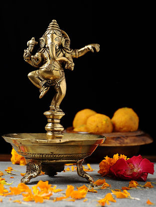 Brass Diya with Dancing Lord Ganesha (L:6.5in, W:5.5in, H:8.6in)