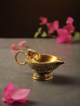 Brass Diya with Elephant Face Handle (L:3.6in, W:2.1in, H:1.6in)