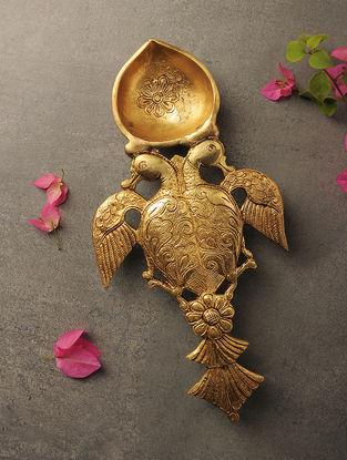 Brass Diya with Bird Design (L:11.1in, W:5.5in, H:1.1in)