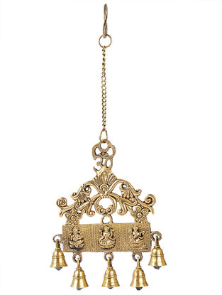 Brass Hanging Bells with Deity Designs (L:17in, W:6.5in)