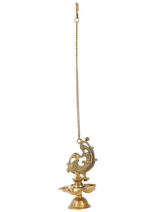 Brass Hanging Lamp with Bird Design (L:5.5in, W:5.5in, H:9.5in)