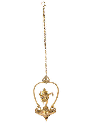 Brass Hanging Lamp with Lord Ganesha Design (L:7.2in, W:8in, H:14.5in)