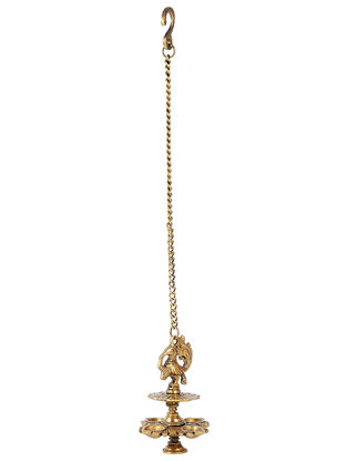 Brass Hanging Lamp with Bird Design (L:4.6in, W:4.6in, H:6.5in)