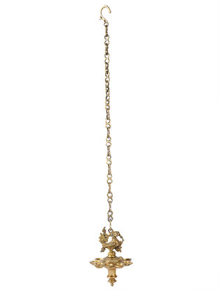 Brass Hanging Lamp with Bird Design (L:4.7in, W:4.7in, H:7.5in)