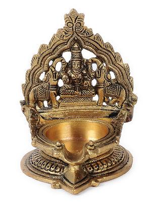 Brass Diya with Goddess Laxmi Design (L:3.7in, W:3.1in, H:4.1in)
