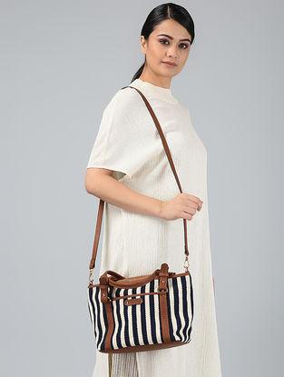 Black-White Handwoven Jacquard Sling Bag