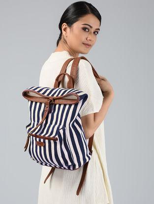 Black-White Handwoven Jacquard Backpack