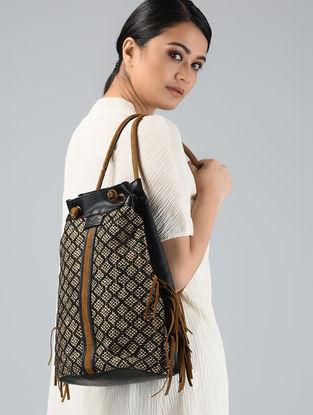 Black-Brown Handwoven Jute Backpack