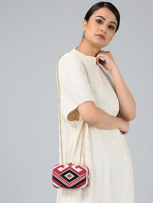 Red-White Handcrafted Jute Clutch