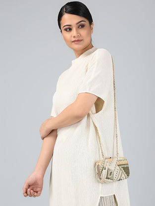 Cream-Olive Handcrafted Jute Clutch