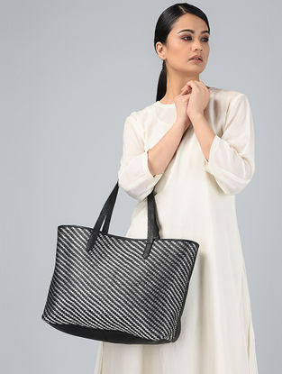 Black-Silver Handcrafted Leather Tote
