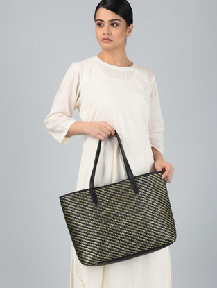 Black-Gold Handcrafted Leather Tote