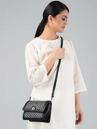Black-Silver Handcrafted Leather Sling Bag
