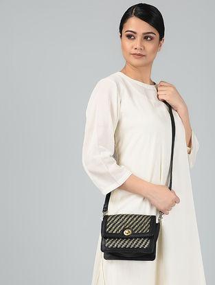 Black-Gold Handcrafted Leather Sling Bag