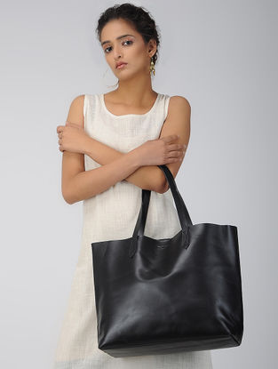 Black Handcrafted Leather Tote Bag