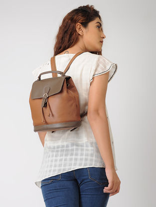 Tan Hand-Crafted Leather Mini Backpack