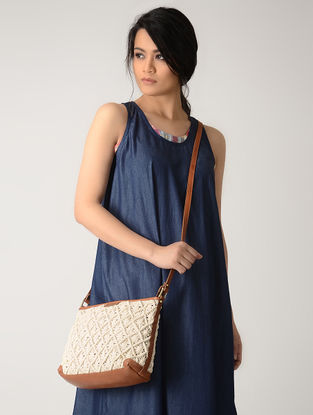 White-Tan Handcrafted Macrame Cotton Sling Bag
