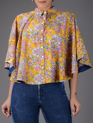 Yellow-Pink Block-printed Collared Cotton Cape