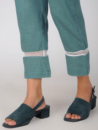 Teal Elasticated Waist Cotton Linen Pants