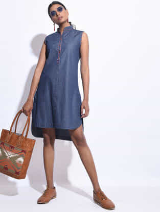 Blue Denim Hand Embroidered Dress