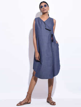 Blue Denim Hand Embroidered Wrap Dress with Tassels