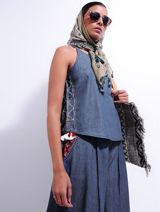 Blue Hand-embroidered Denim Top with Tassels