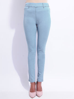 Blue Denim Elasticated-waist Jeggings with Pocket