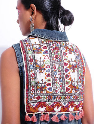 Blue Denim Jacket with Vintage Textile Applique