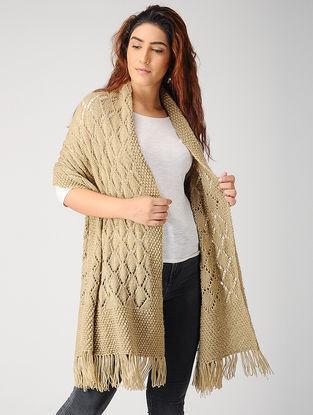 Beige Hand-knitted Woolen Stole