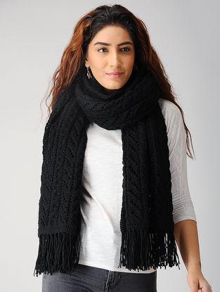 Black Hand-knitted Woolen Stole