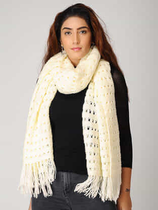 Ivory Hand-knitted Woolen Stole