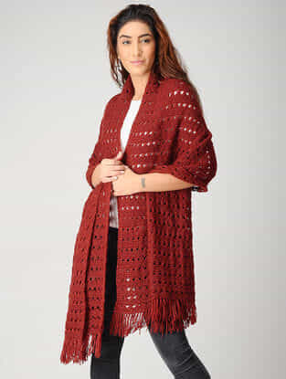 Red Hand-knitted Woolen Stole