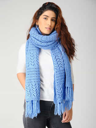 Blue Hand-knitted Woolen Stole