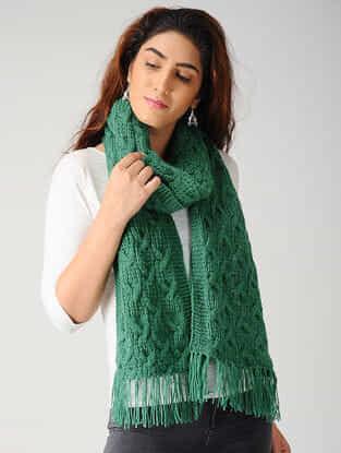 Green Hand-knitted Woolen Muffler