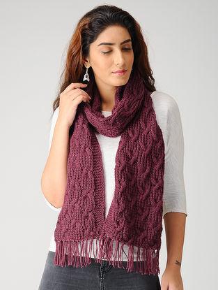 Maroon Hand-knitted Woolen Muffler