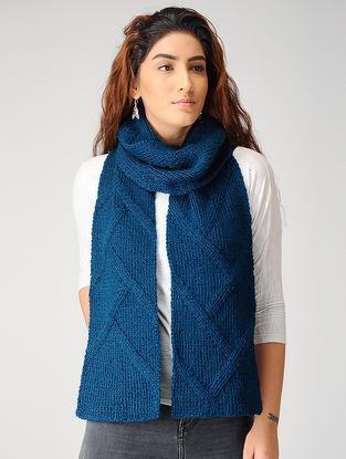 Blue Hand-knitted Woolen Muffler