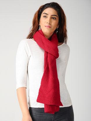 Red Hand-knitted Woolen Muffler