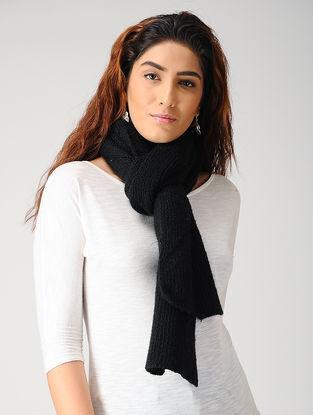 Black Hand-knitted Woolen Muffler