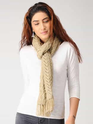 Beige Hand-knitted Woolen Muffler