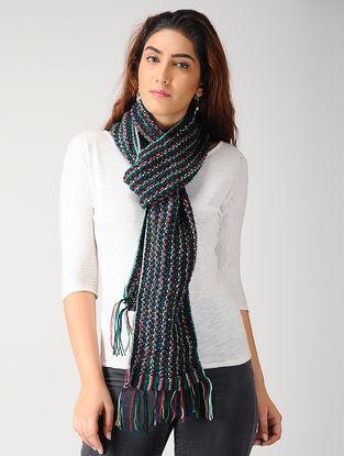 Green-White Hand-knitted Woolen Muffler