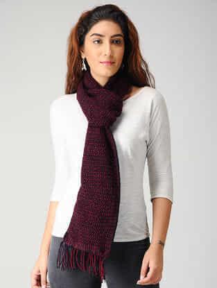 Maroon-Black Hand-knitted Woolen Muffler