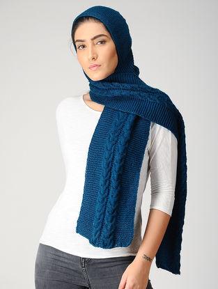 Blue Hand-knitted Woolen Hood Scarf