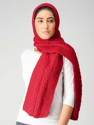Red Hand-knitted Woolen Hood Scarf
