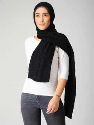 Black Hand-knitted Woolen Hood Scarf