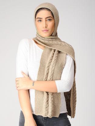 Beige Hand-knitted Woolen Hood Scarf